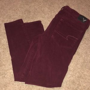 Maroon American Eagle Jeggings
